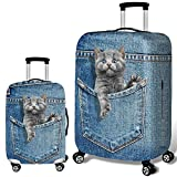 Denim Pet Pattern Luggage Cover Travel Suitcase Protector Elastic Dust proof Bag Protective Trolley Suitcase (4, M (22~24 Inch))