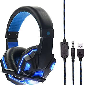 Sencillo Vida Auriculares Gaming Cascos Gaming LED con Cable y Micrófono para PS4 o PC Sonido