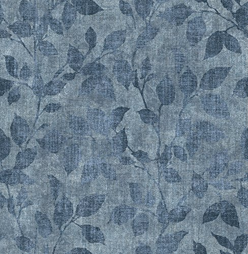 (Chesapeake 3114-003381 Gramercy Park Blue Leaf Wallpaper)