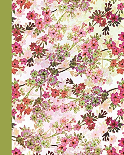 Journal: Field of Flowers (Green and Pink) 8×10 – LINED JOURNAL – Writing journal with blank lined pages