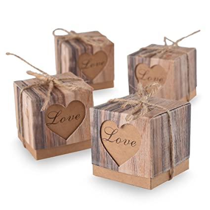 Amazon.com: Aketek 50pcs Candy Boxes Love Rustic Kraft Bonbonniere ...