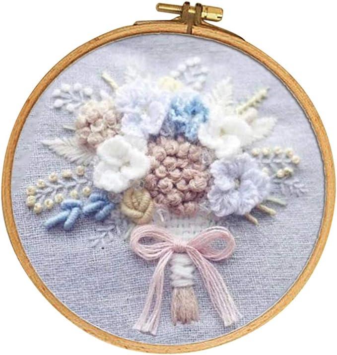 F Fityle - Kit de bordado de tela de algodón, diseño de flores, incluye lienzo para bordar, agujas, hilo de punto de cruz y dibujos: Amazon.es: Hogar