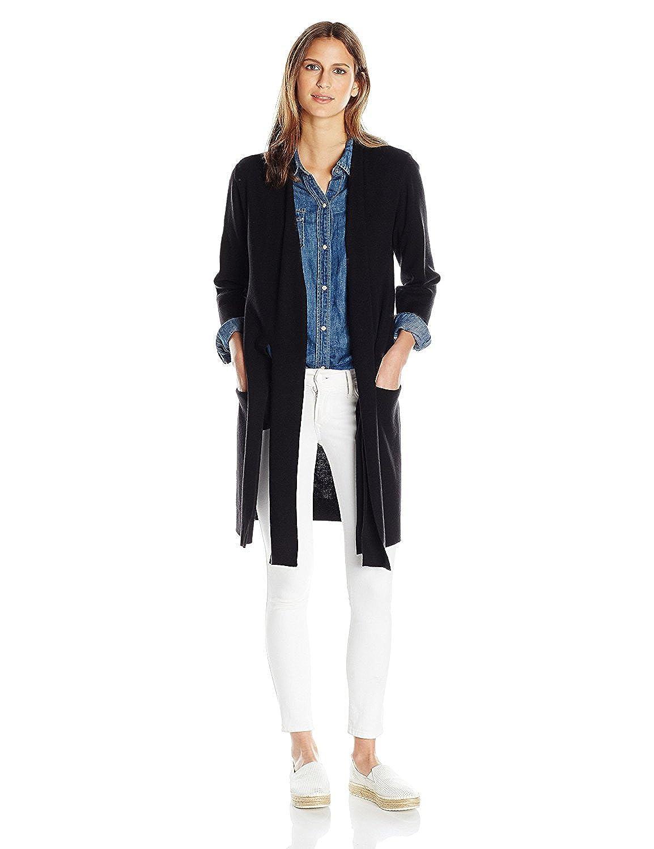 HALSTON HERITAGE Women's 3/4 Sleeve Long Cardigan Sweater Black L [並行輸入品] B075CCYHS4