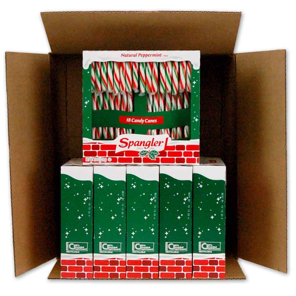 Spangler Peppermint RGW Candy Canes 6-18 count boxes by Spangler