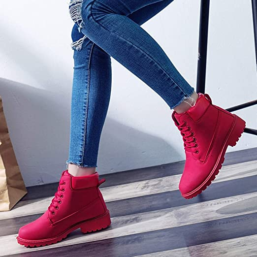 Red Ta Women Fashion Thick Solid Color Ankle Fashion Short Boots Round Toe Casual Shoes: Amazon.com: Grocery & Gourmet Food