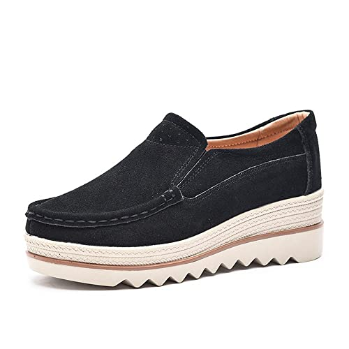 ee25f720f4238 Women Ladies Loafer Flats Platform Shoes Slip on Suede Moccasins Summer Low  top Wedge Sneakers 5cm Black Blue Gray UK2.5-8