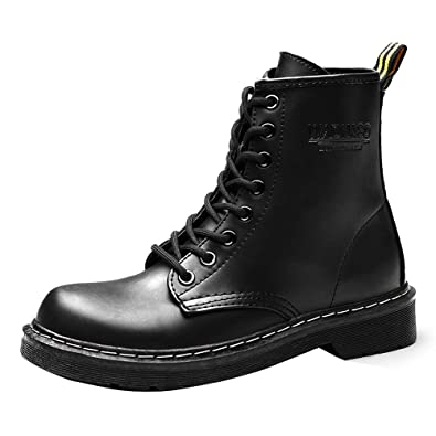 88355e788e0 Women Combat Boots Military Boots Faux Leather Lace-up Mid Calf Boots Army  Boots Black Punk Shoes Chunky