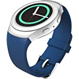 MoKo Gear S2 Watch Band, Soft Silicone Replacement Sport Band for Samsung Gear S2 (S2 SM-R720 / SM-R730 ONLY) Smart Watch, NOT FIT S2 Classic (SM-R732 & SM-R735), NOT FIT Gear Fit2, Dark Imperial BLUE