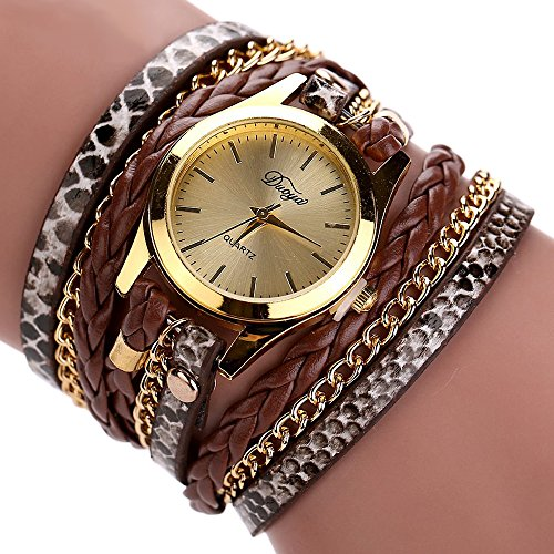 Duoya Leopard Pattern Watch for Women Leather Braided Bracelet Wrap Around D015 Camel Faux Leather Bangle Watch