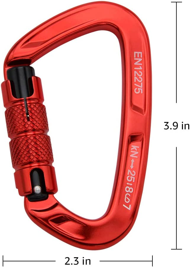 Mountaineer 5620 lbs Camping FerDIM Climbing Carabiner with Auto Locking 25KN Hammock Rappelling Swing Twist Lock and Heavy Duty CE UIAA Certified Locking Carabiner for Climbing