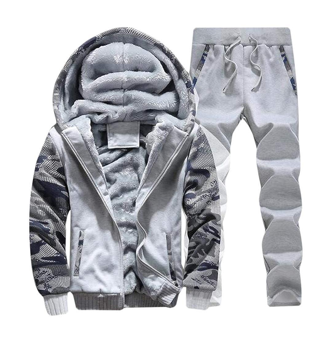 UUYUK Men Casual Warm Fleece Zipper Sweater Jacket Coat Top Pants Sets