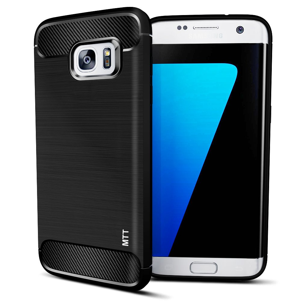 MTT Shock Absorption Carbon Fiber Armor Back Case Cover for Samsung Galaxy S7 Edge  Black