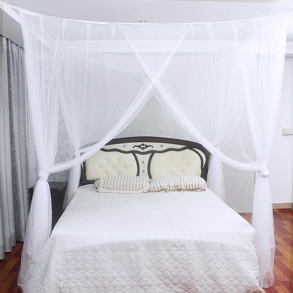 Blanca 4/Esquinas Adecuado para Cama Individual o Matrimonio Anti mosquitos para el Hogar o de Vacaciones JTDEAL Mosquitera para Cama