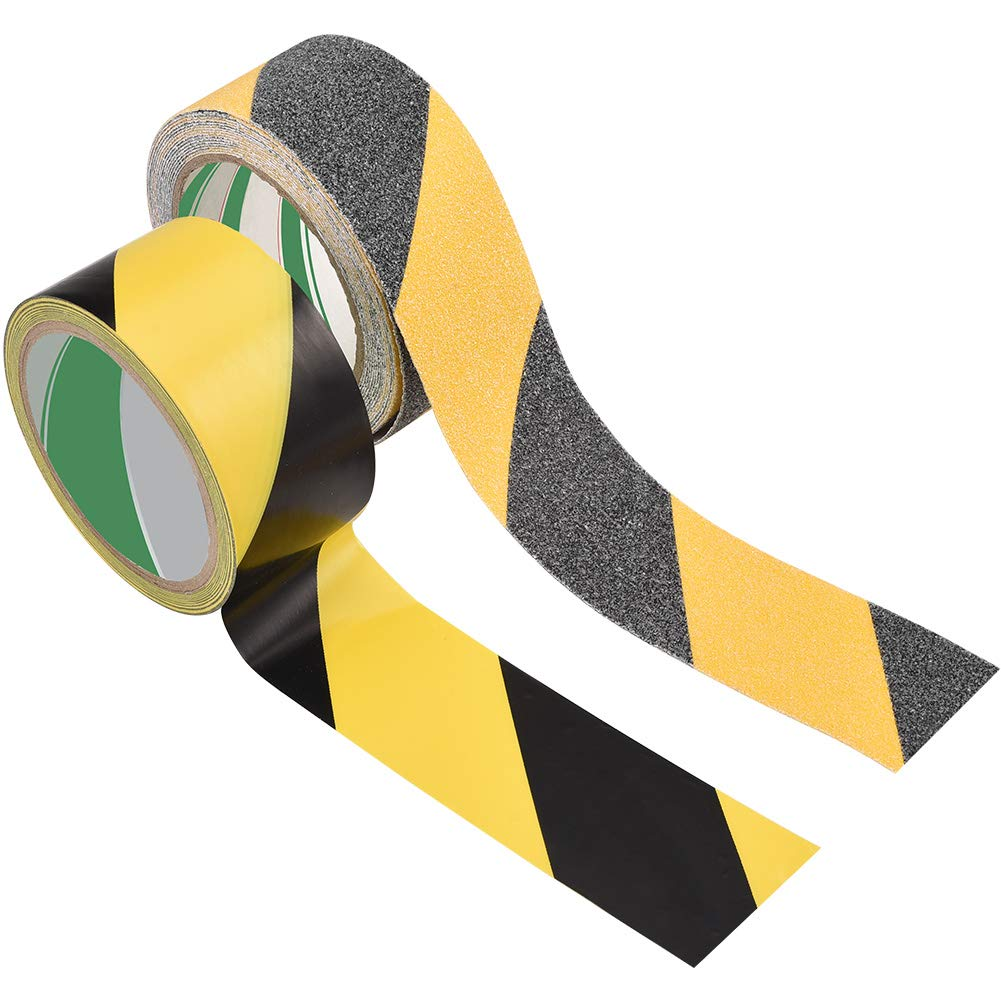 Hazard Warning Tape, Irich Anti Slip Tape & Safety Stripe Tape with High Traction - Waterproof Tape for Floors, Walls, Pipes, Stairs & Equipment (Pakc of 2, Wide 5cm, 16.4ft & 50.1ft Long)