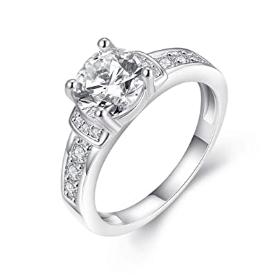 bodya Mujer 4 dientes circonitas aniversario novia joyas boda banda anillo de compromiso anillo oro blanco