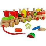 YOPTOTE Legno Geometriche Blocchi dei Treni Costruzione Stacking Kit di Montaggio Giocattolo Tirare Lungo Puzzle per Bambini 3 Anni+