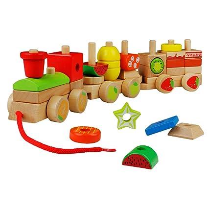 yoptote Tren de Madera Juguete para Arrastrar con Fruta y Tarta Bloques Construcción para Niños Bebé 2 3 4 5 Años