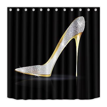LB Women Glimmering Diamond High Heel Shoe Decor Shower Curtain Set Concise Design Girls Style
