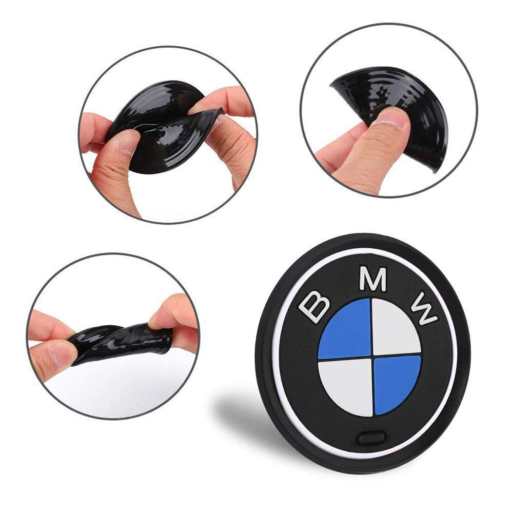 fit BMW Accessories ,2.6 Inch Diameter Anti Slip Mat Auto Interior Pad OSIRCAT 2PCS Car Logo Cup Holder Coaster