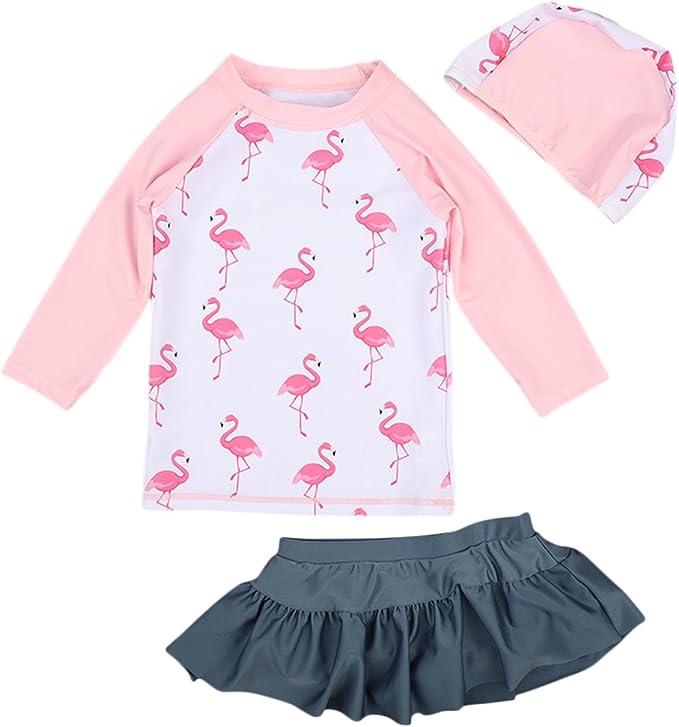 Amazon.com: Bañador de manga larga con falda para niña, 2 ...