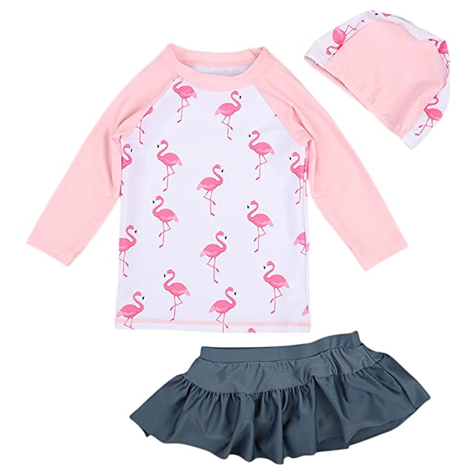 bf47c30e7c Toddler Little Girl 2 Piece Long Sleeve Swimsuit Set Kid UV Sun Protection  Swimwear Flamingo Pink