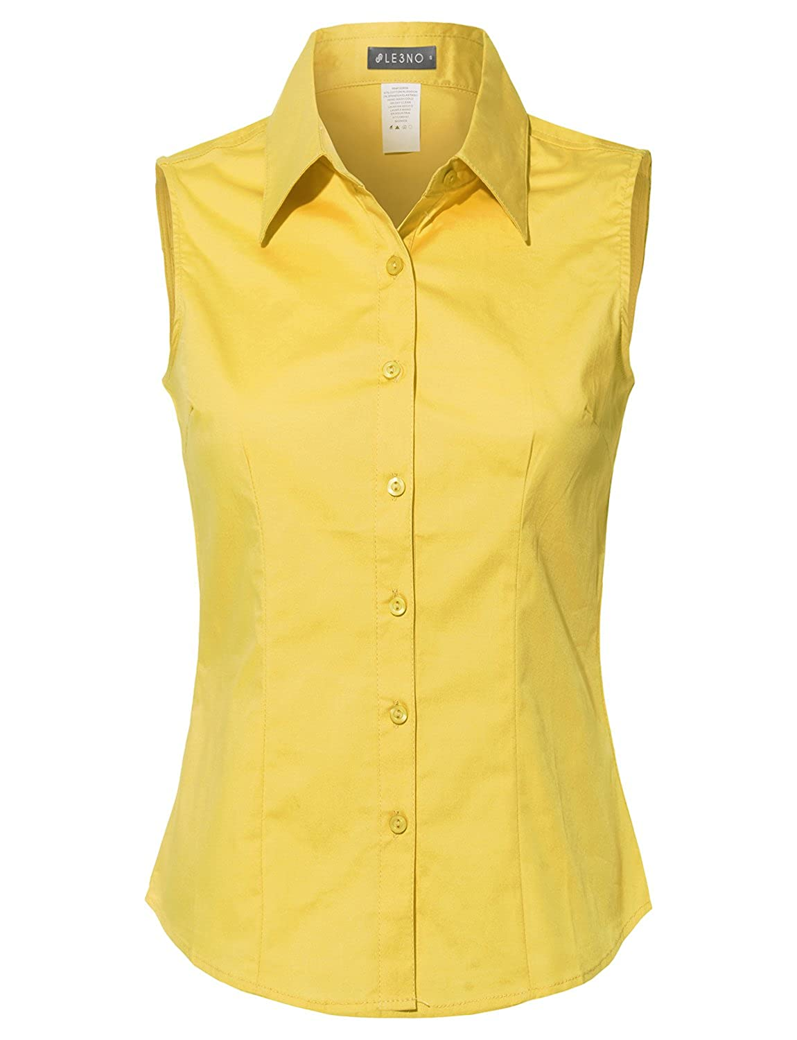 1950s Rockabilly & Pin Up Tops, Blouses, Shirts  Cotton Sleeveless Button Down Shirt $21.99 AT vintagedancer.com