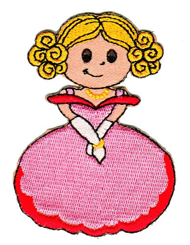 (Girl Princess in Pink Dress Sew-on Iron-on Patches for Kids Children Baby Clothing Embroidered Applique)