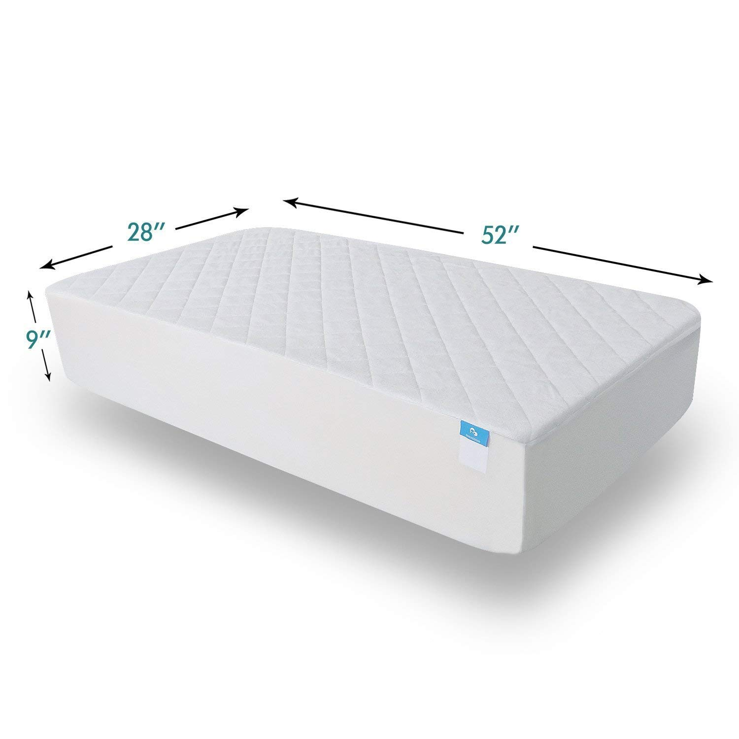 Crib Mattress Protector Organic Bamboo Waterproof Quilted Fitted Sheet with 28 x 52 Hypoallergenic Baby Crib Mattress Cover Pad