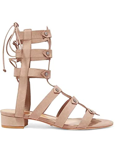 f07d16bdfed SCHUTZ Rae Neutral Nude Nubuck Studded Fitted Ankle Flat Tie Back Gladiator  Sandals (5)