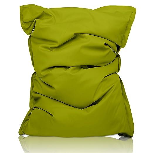 Lumaland PUF otomano en Ecopiel Puff XXL 140 x 180 cm 380l en Piel Sintetica con Relleno Innovador Maxi Puff Outdoor Indoor Verde