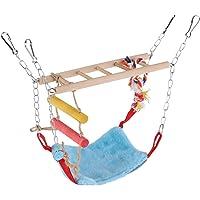 Asixx Juguetes Colgantes para Pájaros, con Escalera,para Masticar,Escalar,Habitar,Descansar,para Mascotas Pequeñas, Pájaros,Loros,Etc(Azul)