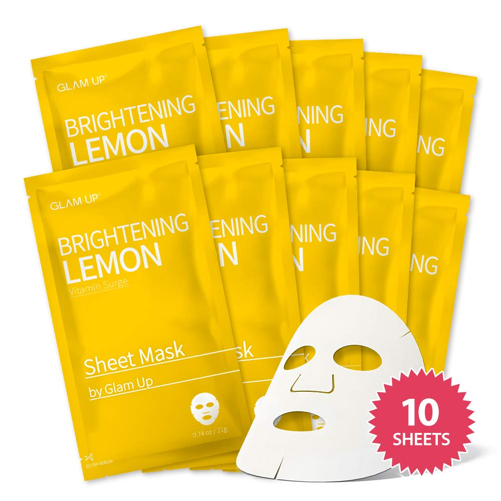 Sheet mask by glam up BTS Brightening Lemon - Revitalize Dull and Uneven Skin Nature made Freshly packed Daily Skin Therapy Original K-Beauty Recipe x 10ea