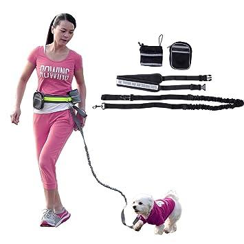 Manos libres Dog Leash, Running Dog Arnés y plomo Runner Bungee ...