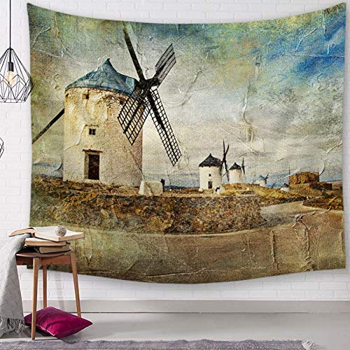 AIRZHANG Molino De Vientotapestry Wall Painting Room Decoration Cloth Curtain Picnic Tablecloth Living Room Background Beach Cloth Living Room Background Decoration Bedroom Shower Curtain