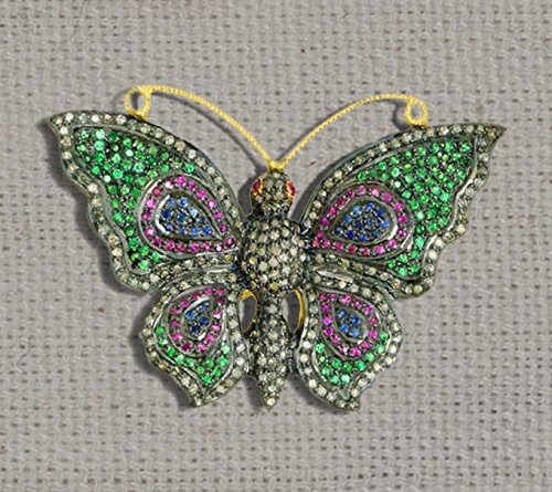 Beautiful Diamond Borches. 92.5 Silver Gemstone Pave Diamond borches, Butterfly shape Beautiful Diamond Jewelry by Jaipur Handmade Jewelry