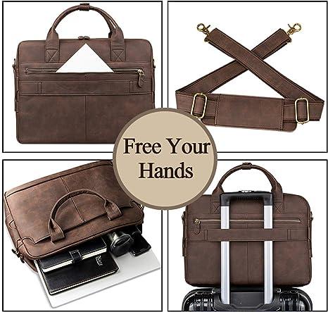Mens briefcase Business Bag Briefcase Mens Fashion Handbag Computer Bag Messenger Bag Brown 38x10x30.5cm XFRJYKJ