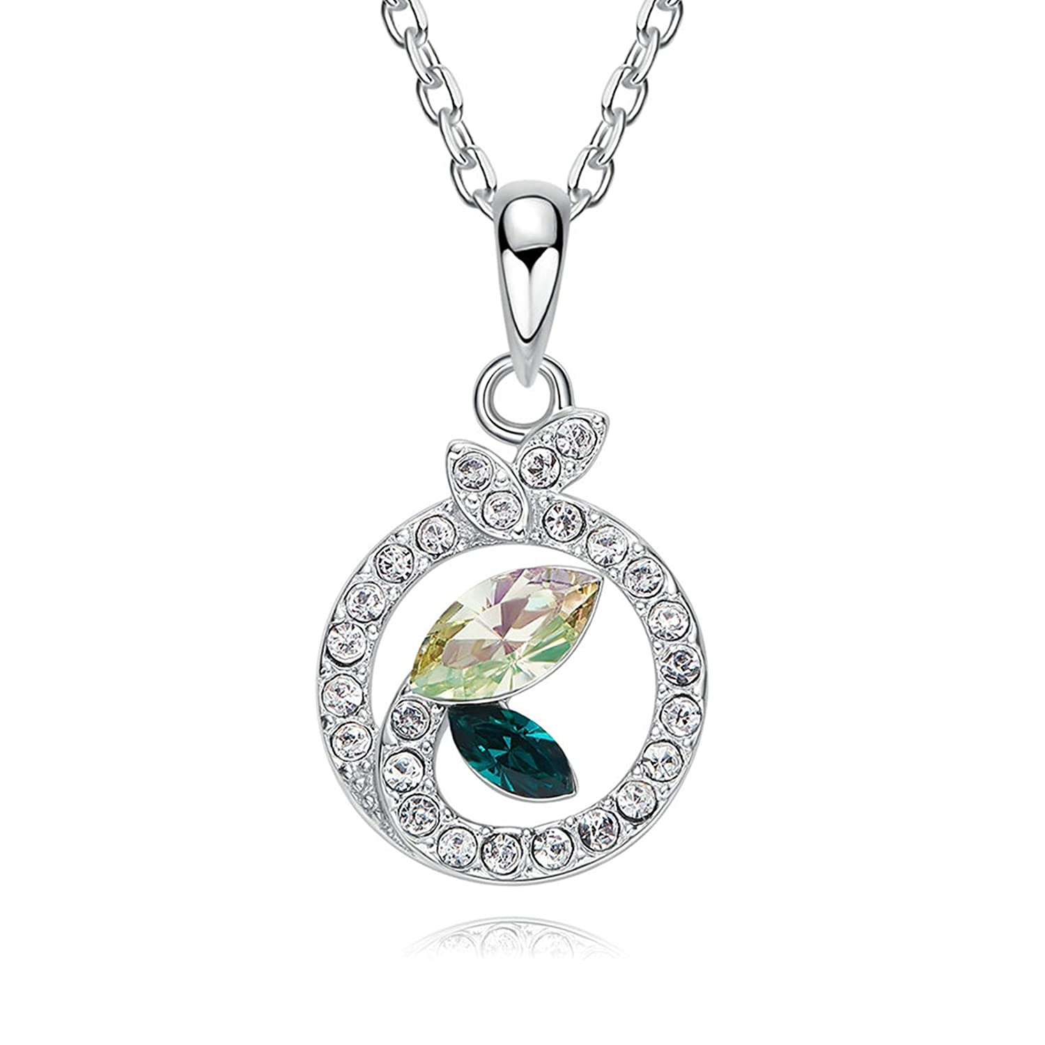 Adisaer Diamond Necklace Large Sterling Silver Plated Marquise Cz Round Leaveswomen Necklace
