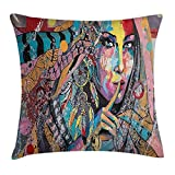 Ntpclsuits Modern Art Pillow case Sexy Girl with Tribal Dreamcatcher and Ethnic Murky Oriental Bohemian Paint 18 X 18 inches
