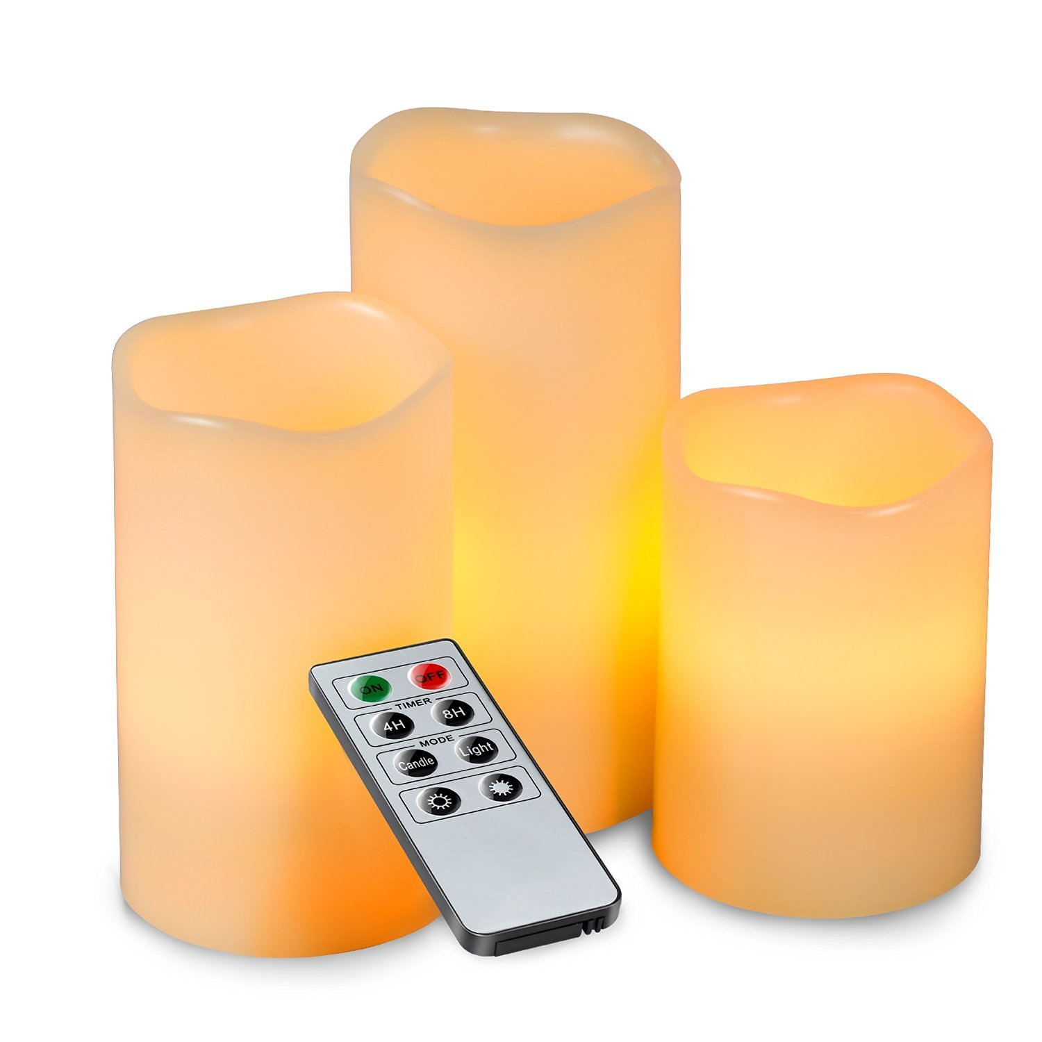 ALED LIGHT Electric Flameless Candles Set, Led Color Changing Battery Operated Candles Multi Function Remote Control with Timer, Romantic Safe Indoor Candle