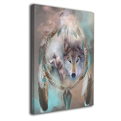 Amazon Com Lufabutty Cool Wolf Dream Catcher Picture Framed