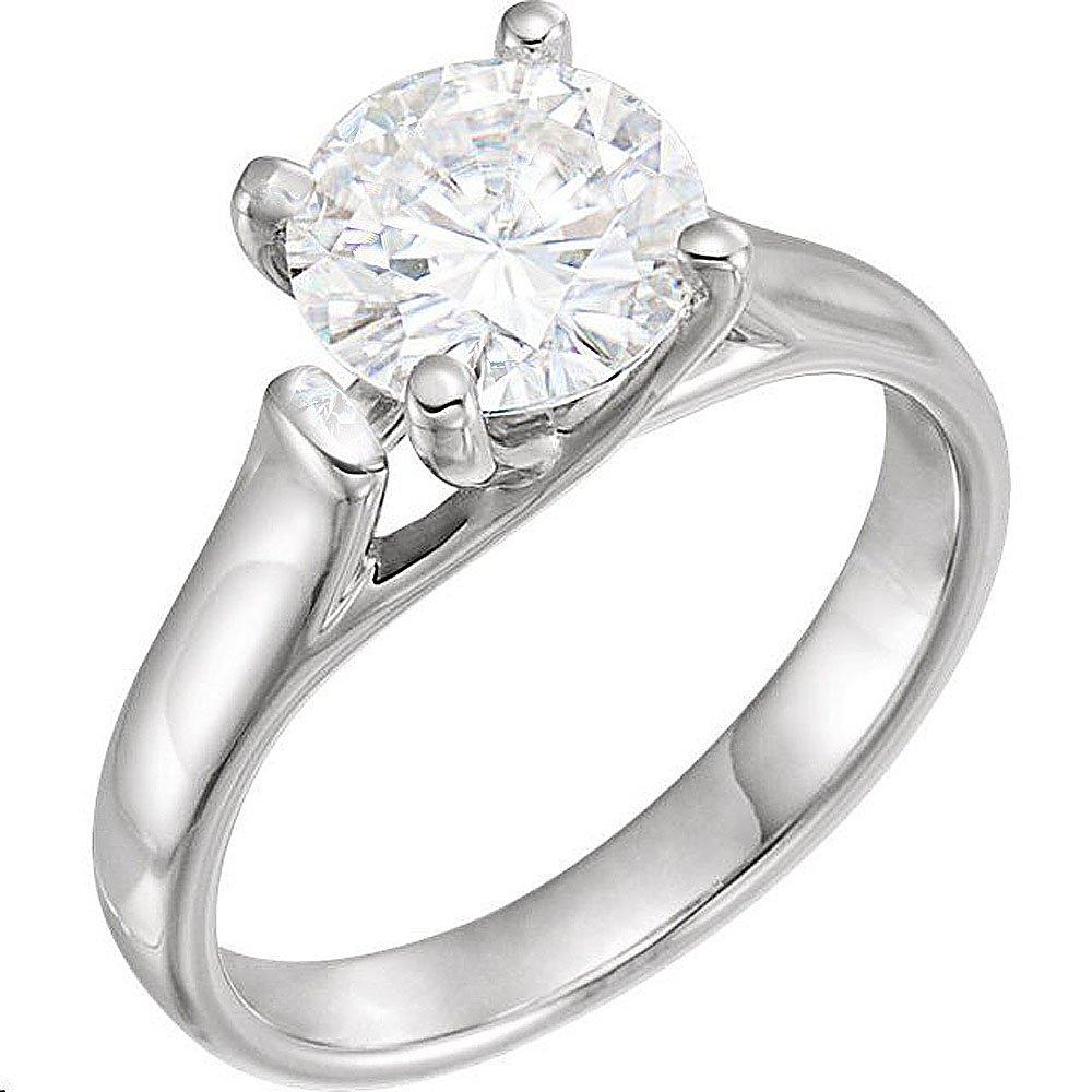 Gorgeous! Forever Brilliant 14k White-gold 8.00MM (2CT) Moissanite Solitaire Engagement Ring