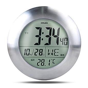 AF nube impermeable LCD resistente al agua reloj de baño con ventosa, orificio para colgar