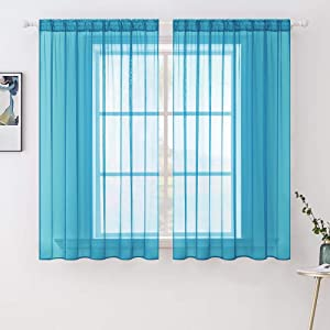 MIULEE 2 Panels Solid Color Sheer Window Curtains Elegant Window Voile Panels/Drapes/Treatment for Bedroom Living Room (54 x 54 Inches Blue Turquoise)