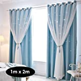 Window Curtain Hollowed Out Stars Shading Curtain Drape Purdah for Home Living Room Bedroom