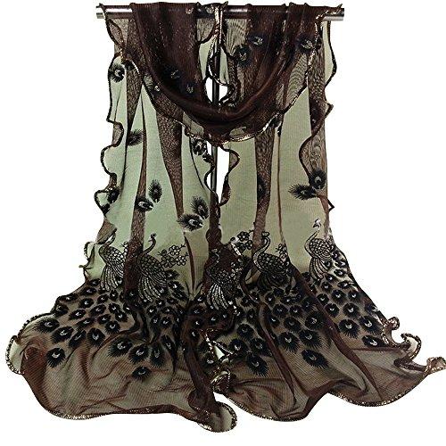 Sanwood Trendy Women Gauze Embroidered Peacock Veil Church Mantilla Scarf Shawl Wrap (Coffee)