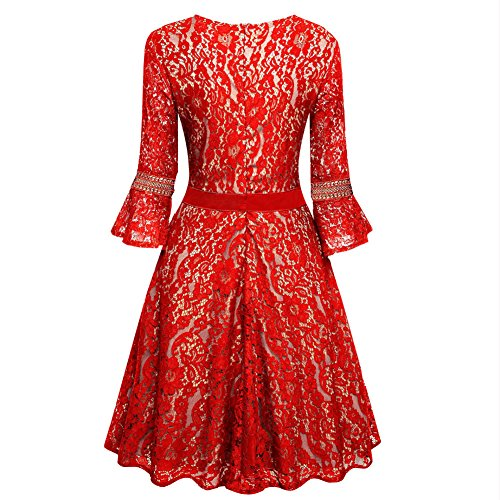 4 Red Col 3 Paskyee Robe Rond Trapèze Manches Femme qxF4Yz