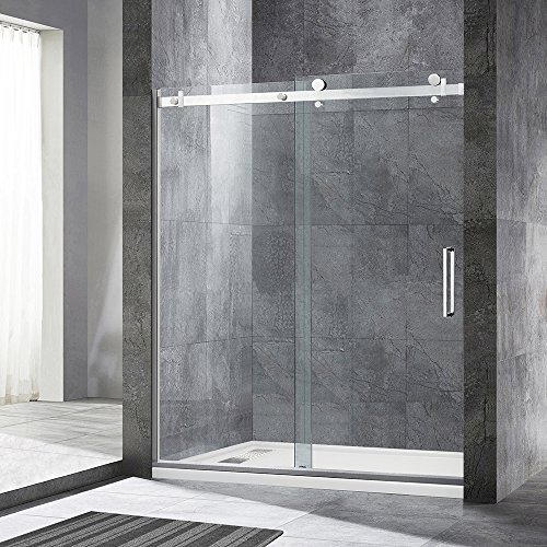 WOODBRIDGE MSDF6076-B Frameless Sliding Shower Door, 56