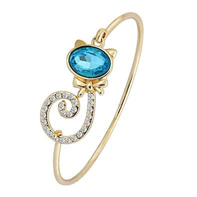 f975171b5 RUXIANG Crystal Cute Tie Cat with Volume Tail Bangle Hook Open Wire Cuff Bracelet  Jewelry (