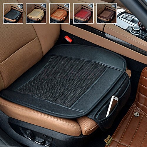 Suninbox Car Seat Cushion,Black Car Seat Covers,Bamboo Charcoal Car Seat Pads Mat,Leather Car Seat Protector,Universal Bottom Seat Cover for Automobiles Breathable Comfortable[Black Front Seats Only]