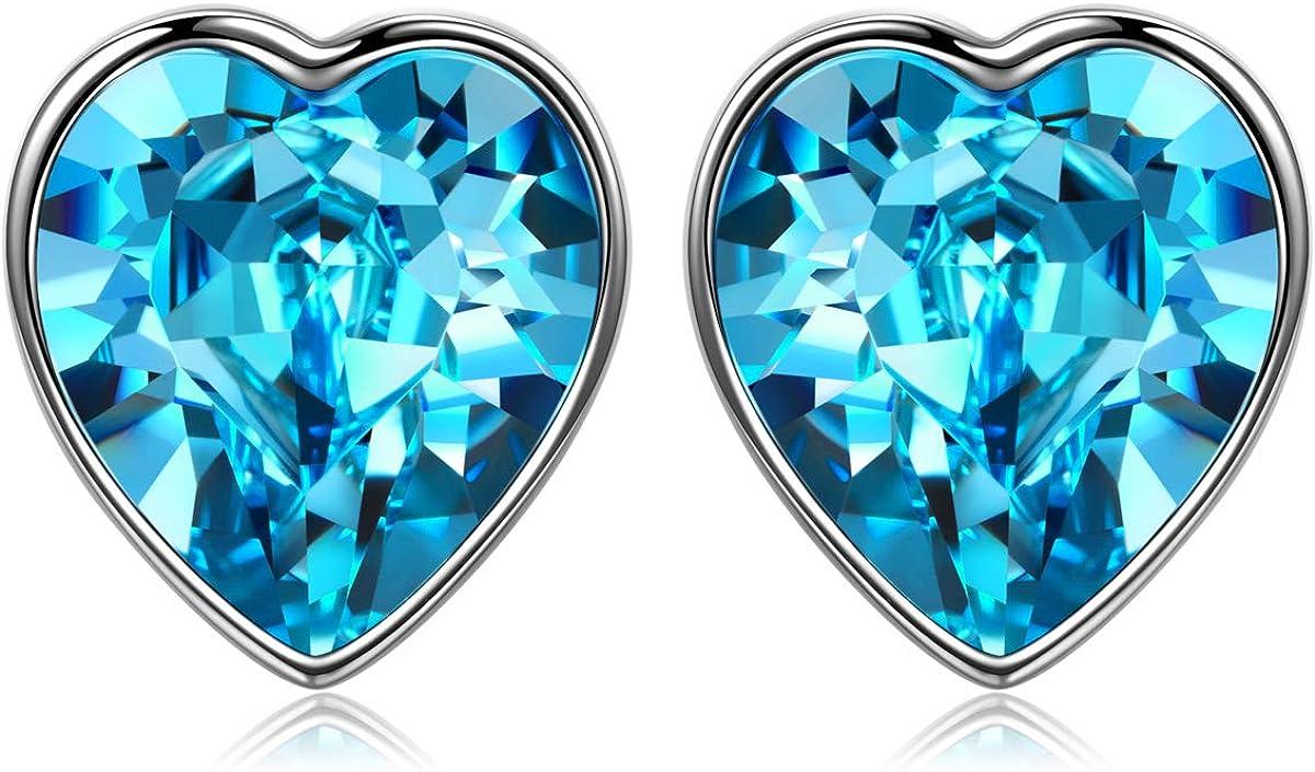 ANGEL NINA Joyería para Ella, Regalo para sus pendientes de amor puro para mujer, plata 925 con cristales de Swarovski, océano azul, elegante joyero, filosofía estética única